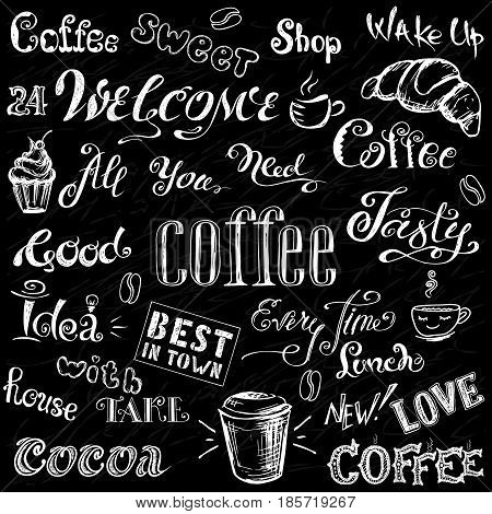 Coffee And Cocoa - Lettering,hand Drawn On Black Background.