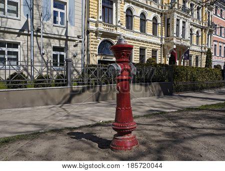 Riga fire hydrant the beginning of the street Elizabetes historic quarter