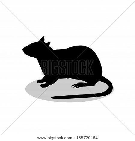 Rat mouse rodent black silhouette animal. Vector Illustrator.