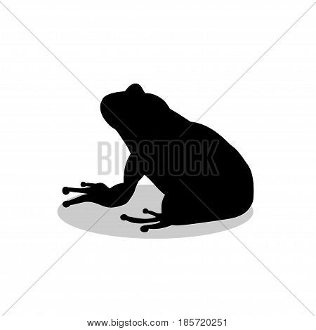 Frog amphibian black silhouette animal. Vector Illustrator.