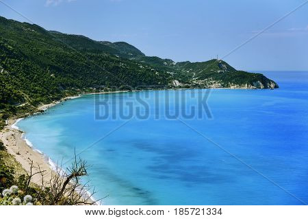 Ionian sea. Beach in Lefkada island Greece.