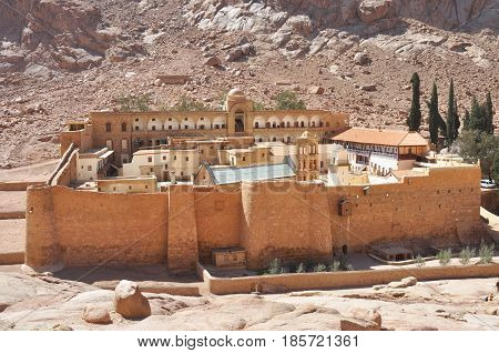 Beautiful Mountain cloister landscape in the oasis desert valley. Saint Catherine's Monastery in Sinai Peninsula Egypt