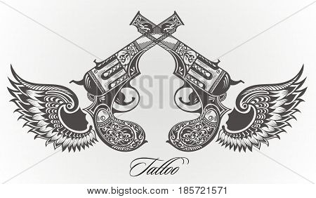 Pistol tattoo card for your design. Tattoo elements