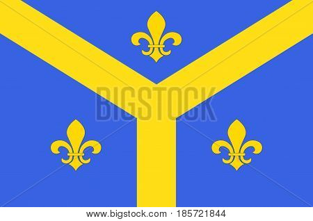 Flag of Issoudun is a commune in the Indre department in the central region of France. Vector illustration