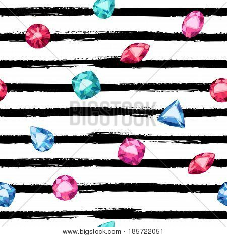 Seamless colorful diamond gemstones and brushstroke stripes background on white. Jewels pattern. Assorted diamonds rubies emeralds vector illustration. Good for cover card banner poster luxury design.