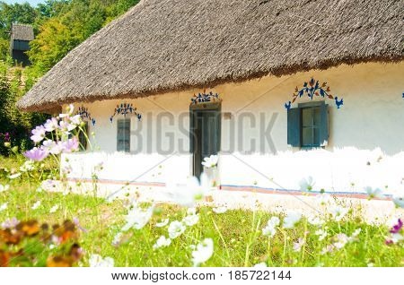 Old house with a thatched roof. Museum of National Architecture and Life Pirogovo