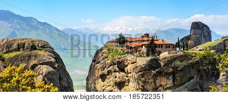 Agios Stefanos St Stefan Monastery on Meteora rocks aerial panoramic banner, Greece
