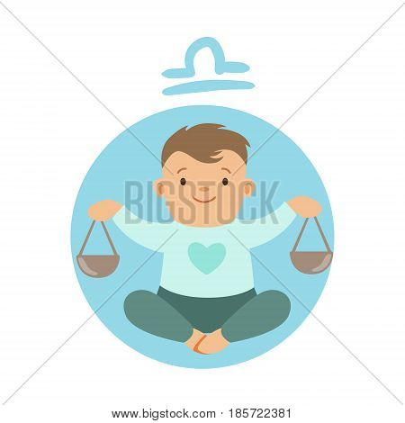 Cute little boy as Libra astrological sign. Horoscope symbol colorful character vector Illustration isolated on a white background