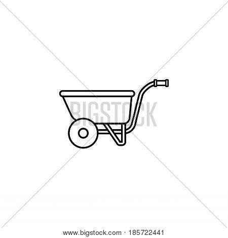 Wheel barrow line icon, build repair elements, construction tool, a linear pattern on a white background, eps 10.