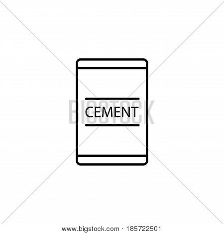 Cement bag line icon, build repair elements, construction tool, a linear pattern on a white background, eps 10.