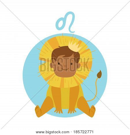 Cute little boy as Leo astrological sign. Horoscope symbol colorful character vector Illustration isolated on a white background