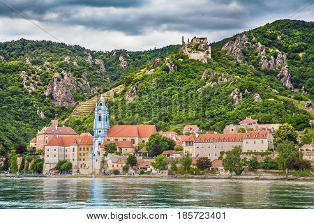 Town Of Durnstein With Danube River, Wachau, Austria