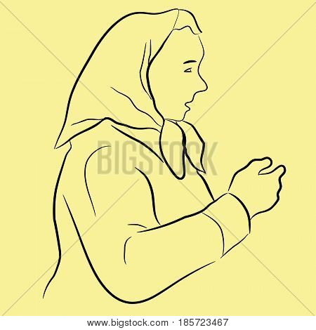 line art illustration of middle aged lady with headscarf