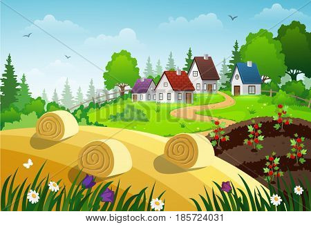 Rural landscape with green meadow country house garden and hay