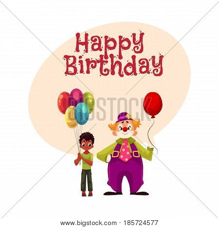 Happy birthday vector greeting card, poster, banner design with Black, African American boy holding balloons standing with funny clown. Black, African boy and man in clown costume holding balloons