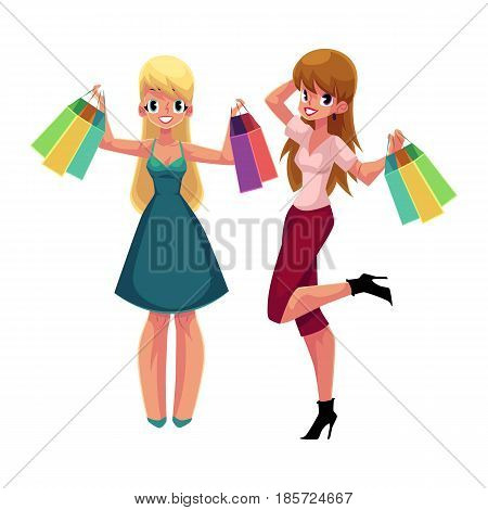 Two happy women, girls, friends with shopping bags, holiday sale concept, cartoon vector illustration isolated on white background. Couple of girls, women with shopping bags, happy shopping concept