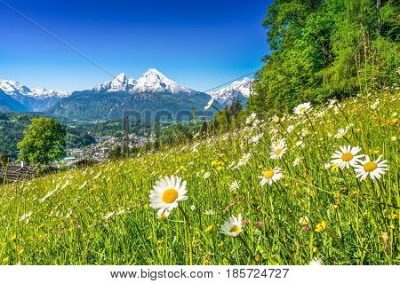 Panoramic View Of Beautiful Landscape In The Bavarian Alps With Famous Watzmann Mountain In The Back