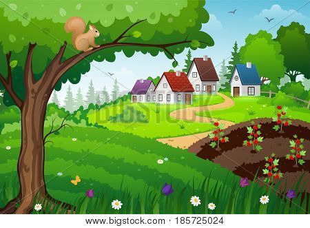 Landscape with farm houses green meadow and a vegetable garden