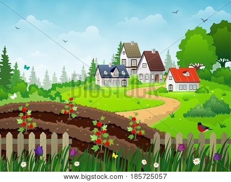 Countryside village landscape with rural houses vegetable garden and green meadows under blue skies.