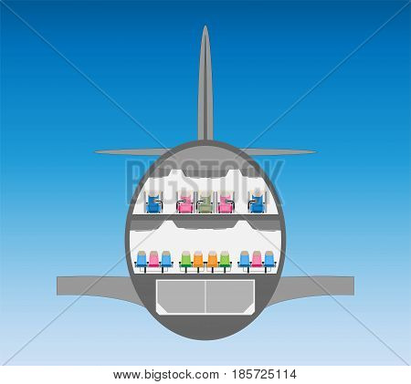 Double Deck Wide Body Airplane Cross Section