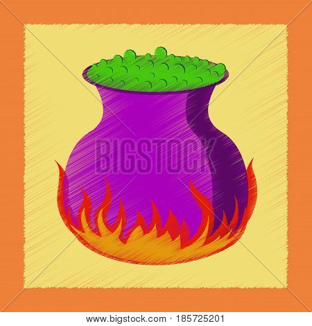 flat shading style icon of potion cauldron