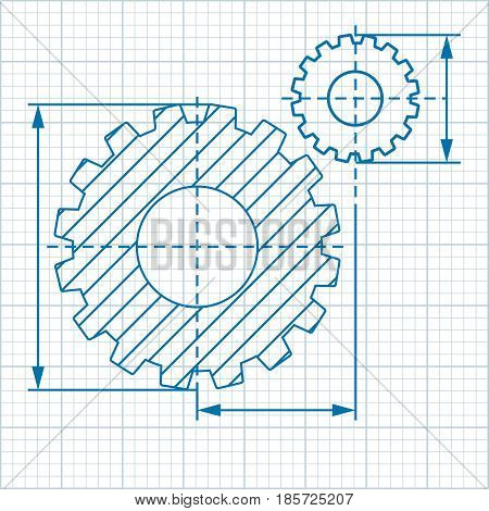Drawing on millimeter paper with two cogwheels. Mechanical transmission. Flat vector cartoon illustration. Objects isolated on a white background.