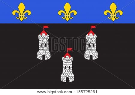 Flag of Tours is the administrative centre of the Indre-et-Loire department and the largest city in the Centre-Val de Loire region of France. Vector illustration