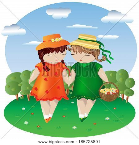 Two girls with pigtails in colored dresses and hats hold hands in a clearing dotted with flowers, behind a forest and sky with clouds