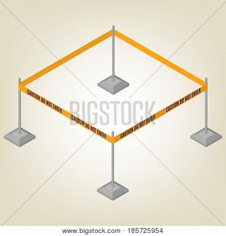 Warning tape fencing with text isolated on white background. Design elements for reconstruction. Flat 3D isometric style vector illustration.