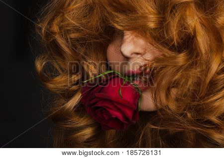 young woman with red hair is holding red rose in her mouth