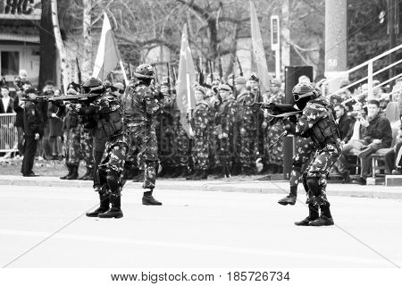 Izhevsk, Russia - May 9, 2017. Victory Day Victory, Special Forces
