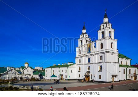 Minsk Belarus - March 23 2017 the Cathedral of the Holy Spirit the main Orthodox church