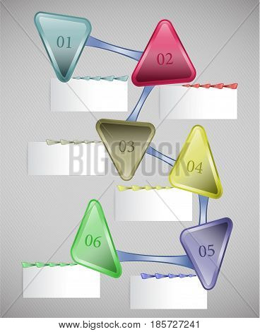 Template for webdesign with triangles and notepads. Infographics step by step template with colorful triangles for webdesign