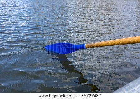 blue oar paddle on the water, pond, lake