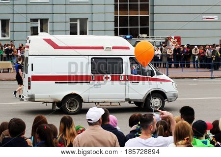 IZHEVSK RUSSIA - May 9 2017. Ambulance car relay help. Holiday is the day of victory Outdoors