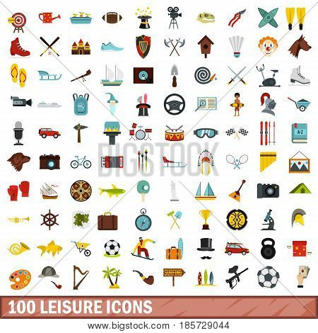 100 leisure icons set in flat style for any design vector illustration