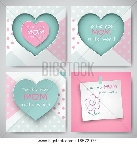 Set of green and pink greeting cards for mother's day, sheet of paper with congratulation text and flower, cuted heart with dotted background, paper cut style. Vector illustration, layers isolated