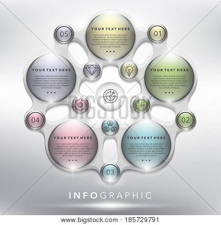 Abstract info graphic with circle elements. 5 parts concept. Can be used for workflow layout, banner, number options, step up options, diagram, web design. Vector illustration. Eps10.
