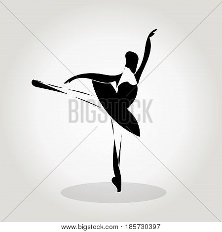 Vector Sillhouette Of A Dancing Girl, Ballet, Girl Practicing Dance
