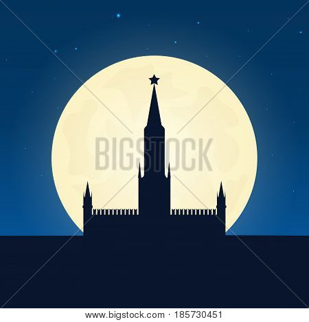 Russia, Kremlin Silhouette Of Attraction. Travel Banner With Moon On The Night Background. Trip To C