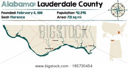 Large and detailed map of Lauderdale County in Alabama.