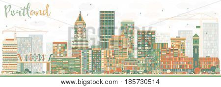 Abstract Portland Skyline with Color Buildings. Business Travel and Tourism Concept with Modern Architecture. Image for Presentation Banner Placard and Web Site.
