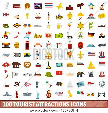 100 tourist attractions icons set in flat style for any design vector illustration