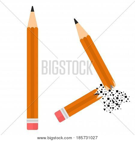 Two pencil image. Flat whole and broken pencil vector cartoon illustration. Objects isolated on a white background.