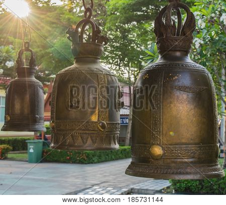 Ancient bell in Thai temple In the evening