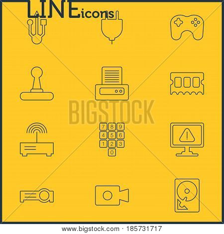 Vector Illustration Of 12 Notebook Icons. Editable Pack Of Warning, Router, Number Keypad And Other Elements.
