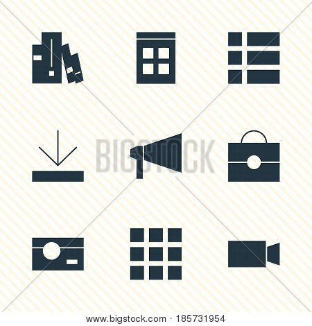 Vector Illustration Of 9 Online Icons. Editable Pack Of Bookshelf, Bullhorn, Upload And Other Elements.