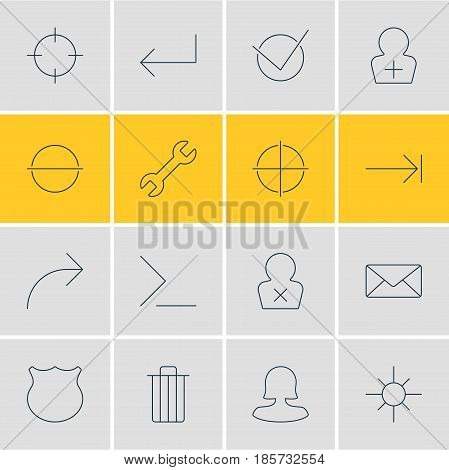 Vector Illustration Of 16 UI Icons. Editable Pack Of Garbage, Register Account, Tabulation Button And Other Elements.