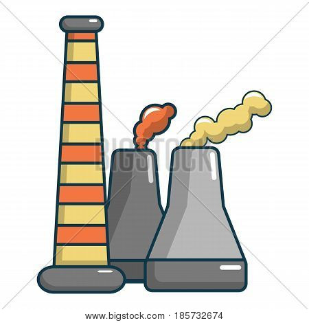 Industrial smoke from chimneys icon. Cartoon illustration of industrial smoke from chimneys vector icon for web