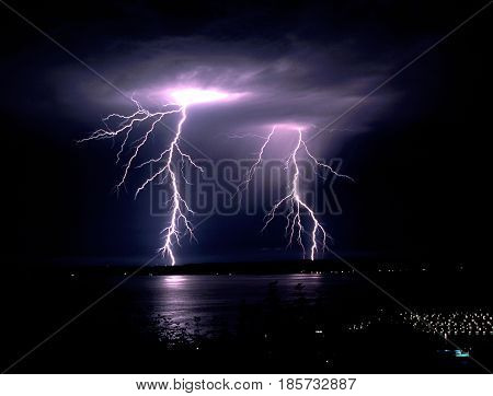 Two distinct bolts of electrical energy hit Bainbridge Island in Puget Sound Washington State